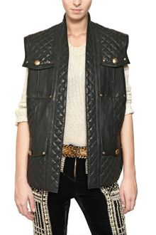 Balmain Quilted Oversize Nappa Leather Jacket - Lyst