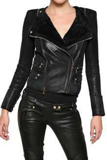 Balmain Shearling Biker Style Leather Jacket - Lyst
