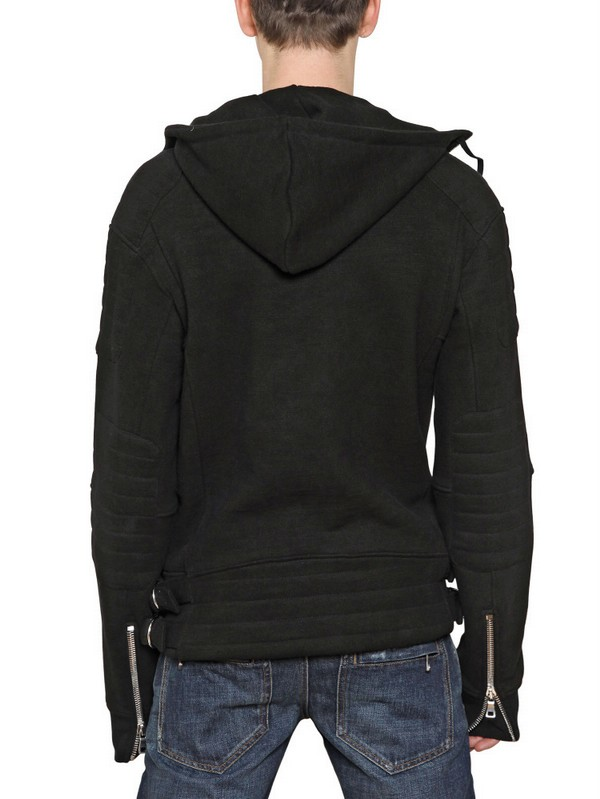 Balmain Zip Up Hooded Fleece Sweatshirt in Black for Men | Lyst