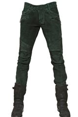 Balmain Leather Biker Jeans - Lyst