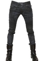 Balmain 18cm Stretch Pintuck Waxed Slim Jeans - Lyst