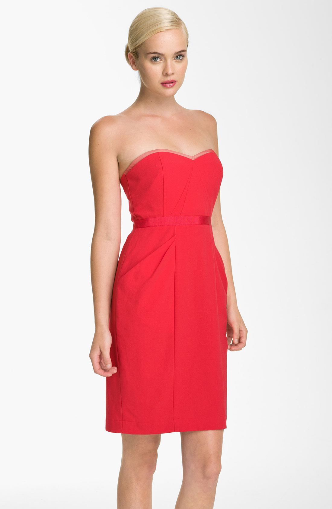 Red Sweetheart Neckline Dress