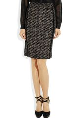 Bottega Veneta Paneled Woolblend Skirt in Black - Lyst