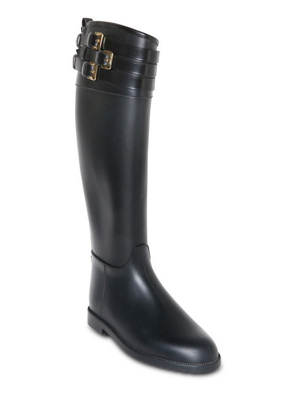Burberry 20mm Rippon Equestrian Rain Boots in Black | Lyst