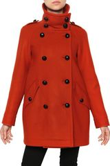 Burberry Brit Double Breasted Double Wool Twill Coat - Lyst