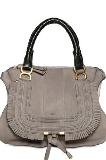 Chloé Grained Leather Marcie With Fringing - Lyst