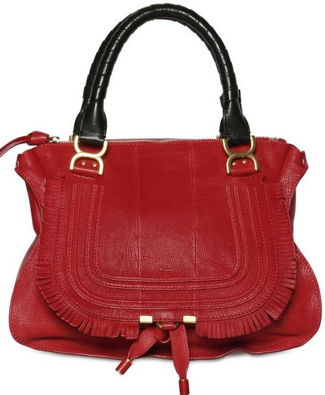Chloé Grained Leather Marcie with Fringing in Red - Lyst