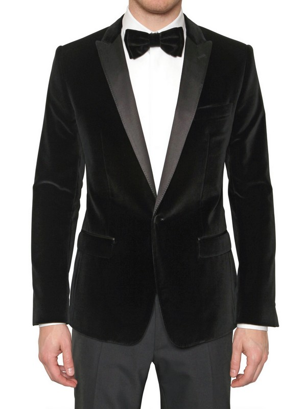 dolce amp gabbana martini velvet cotton tuxedo jacket in