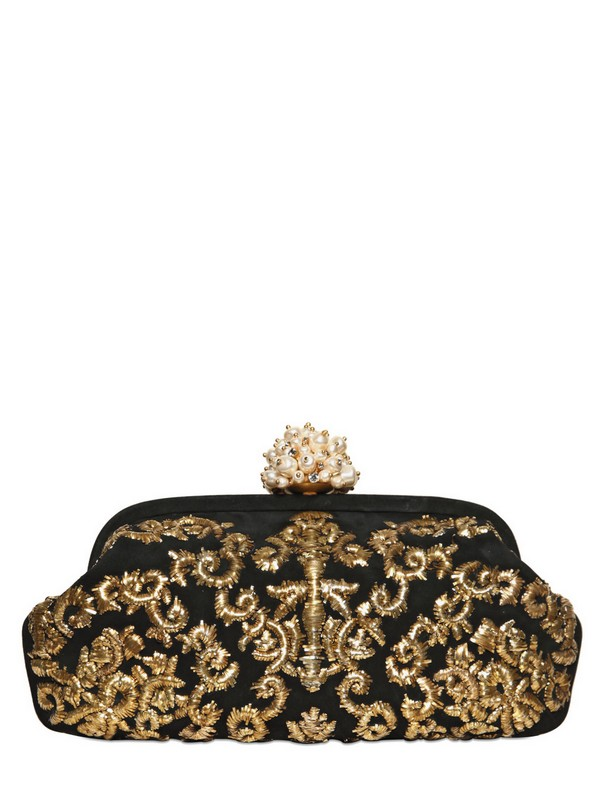 eeb04db91b Lyst - Dolce   Gabbana Miss Dea Embroidered Suede Clutch in Metallic