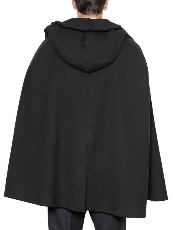 Lyst Dolce Amp Gabbana Wool Blend Short Cape Coat In Black