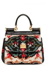 Dolce & Gabbana Mini Miss Sicily Stitched Shoulder Bag in Black (multi) - Lyst