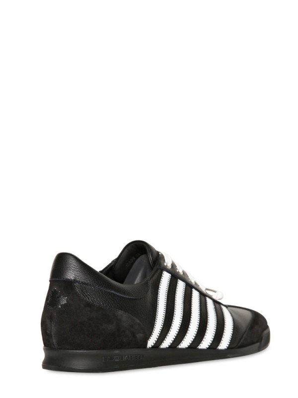 fbfbeba5edd Lyst - Dsquared² Stripes Hammered Leather Sneakers in Black for Men