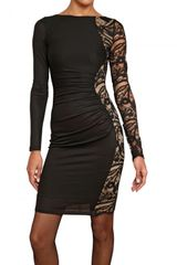 Emilio Pucci Lace Insert Stretch Wool Jersey Dress - Lyst