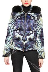 Emilio Pucci Fox Fur Printed Techno Satin Jacket - Lyst