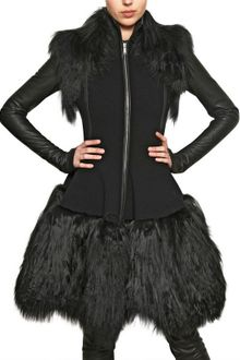 Gareth Pugh Mongolian Fur and Double Wool Coat - Lyst