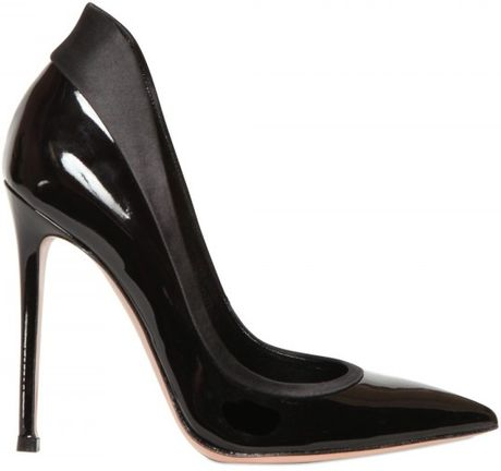 Gianvito Rossi 110mm Metallic Calfskin and Satin Pumps in Black - Lyst