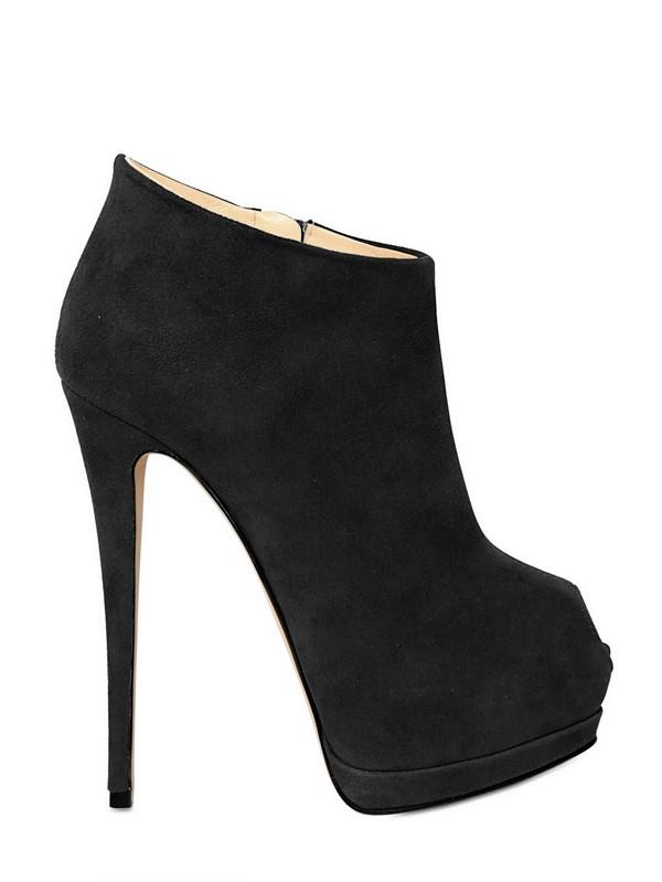 Giuseppe Zanotti 140mm Suede Open Toe Low Boots In Black
