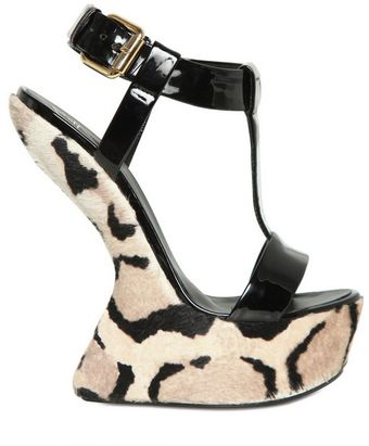 Giuseppe Zanotti 150mm Patent Pony Skin Sculpted Wedges - Lyst