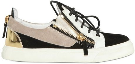 Giuseppe Zanotti 20mm Suede Metallic Calfskin Sneakers in Beige (multi) - Lyst