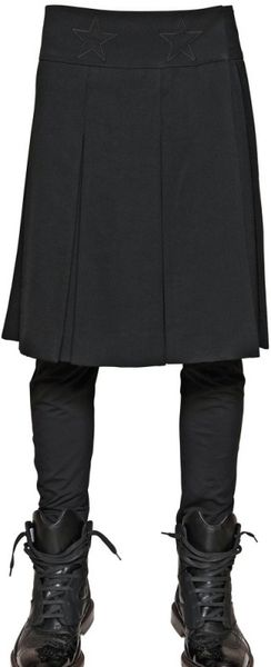 Givenchy Star Appliqué Wool Toile Pleated Skirt - Lyst