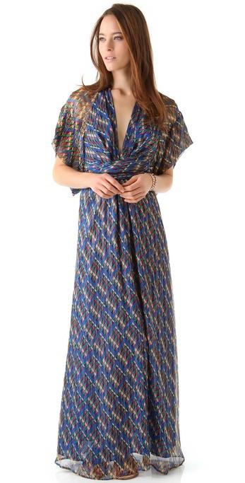 Issa Chiffon Kimono Maxi Dress in Blue   Lyst