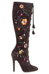 Jimmy Choo 120mm Colorado Suede Embroidered Boots - Lyst