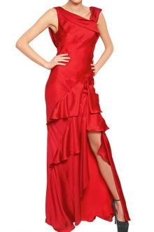 John Galliano Ruffled Silk Satin Long Dress - Lyst