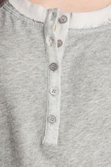 Kensie Raw Edge Henley Top in Gray (heather grey) - Lyst