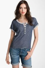 Kensie Raw Edge Henley Top - Lyst