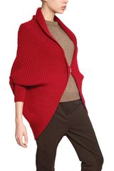 Lanvin Wool Alpaca Ribbed Knit Cardigan - Lyst