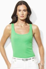 Lauren by Ralph Lauren Kelly Cotton Ribbed Tank - Lyst