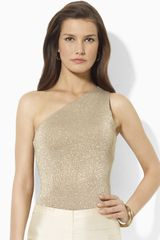 Lauren by Ralph Lauren One Shoulder Metallic Silk Top - Lyst