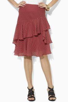 Lauren by Ralph Lauren Silk Tiered Ruffle Skirt - Lyst