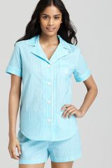 Lauren by Ralph Lauren Short Sleeve Top and Boxer Pajama Set - Lyst