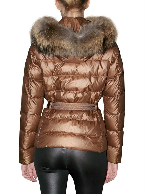 e3832ae5ca Lyst - Moncler Angers Fur Hood Belted Matt Nylon Jacket in Brown