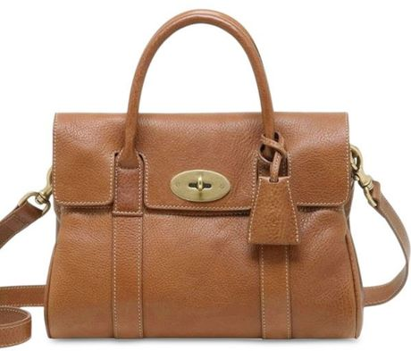Mulberry Small Bayswater Natural Leather Bag in Brown (oak) - Lyst