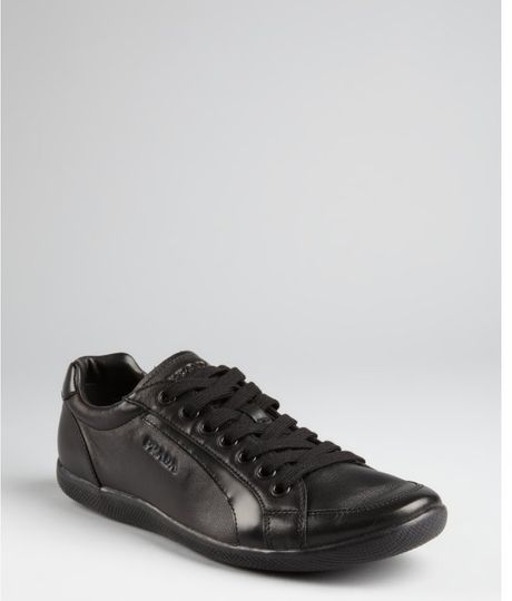 Prada Prada Sport Black Leather Tonal Striped Sneakers in Black for Men - Lyst