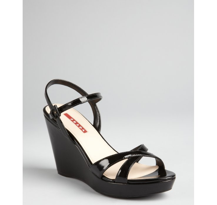 with paypal cheap price discount Inexpensive Prada Sport Patent Leather Wedges Sandals websites online QFrWfhpC