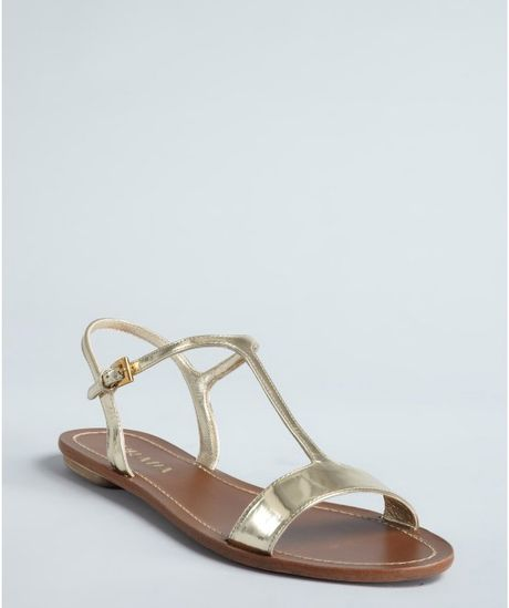 Prada  Leather Flat Sandals in Gold - Lyst