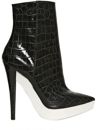 Stella McCartney 140mm Croco Print Pointy Boots - Lyst