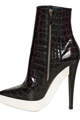 Stella Mccartney 140mm Croco Print Pointy Boots in Black - Lyst