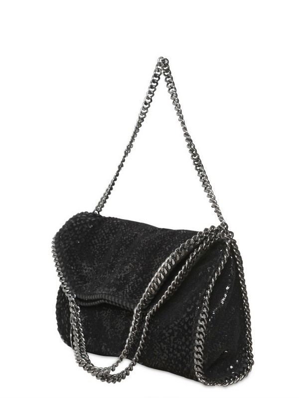 Stella McCartney black falabella reversible velvet shoulder bag Best Wholesale Qmg1hH