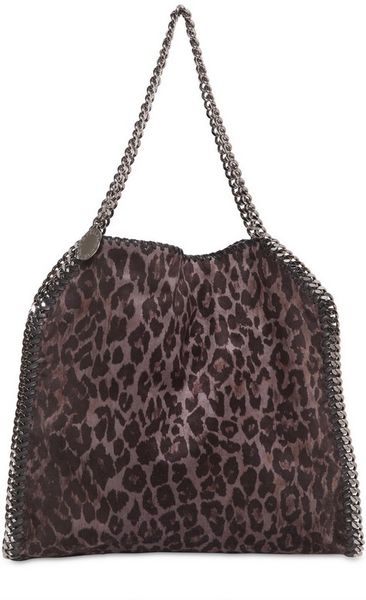 Stella Mccartney Medium Falabella Faux Suede Bag in Animal (grey) - Lyst