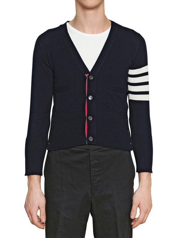 Thom browne Cashmere Knit Cropped Cardigan in Black for Men | Lyst