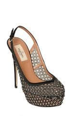 Valentino 130mm Silk and Swarovski Pumps in Silver (black) - Lyst