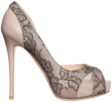 Valentino 120mm Nappa Lace Crystals Open Toe Pumps in Beige (nude)