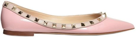 Valentino 10mm Rock Stud Patent Ballerina Flats in Pink