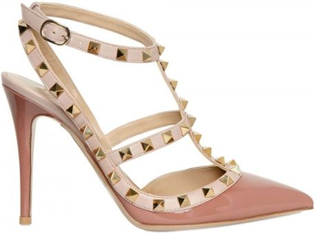Valentino 100mm Rock Stud Patent Pumps in Beige (rose)