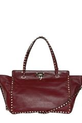 Valentino Small Rockstud Matt Leather Top Handle - Lyst