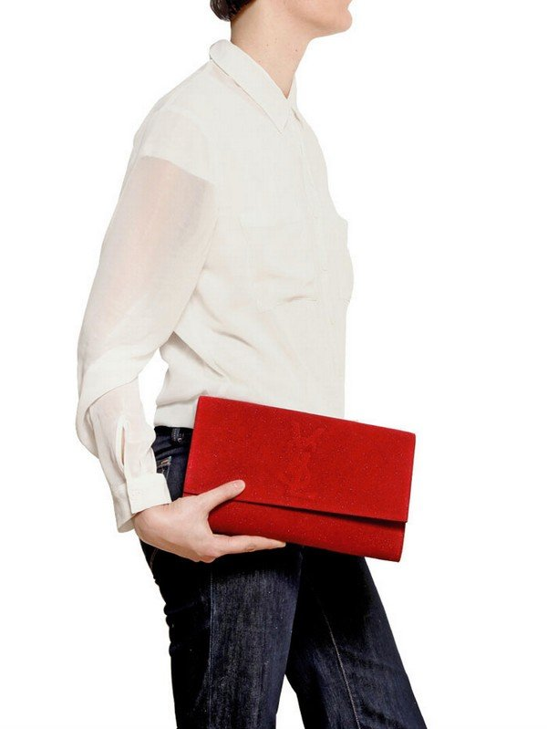 discount ysl handbags - Saint laurent Belle De Jour Glitter Leather Clutch in Red | Lyst
